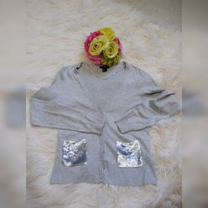 H&M WHIT SILVER POCKETS SEQUINED GRAY CARDIGAN